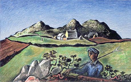 John Craxton's Reaper in a Welsh Landscape