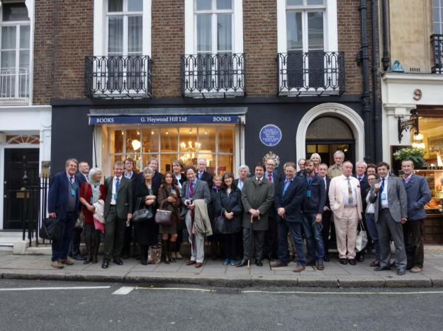 Friends and admirers of Patrick Leigh Fermor outside Heywood Hill, his favourite bookshop, in London's Shepherd Market