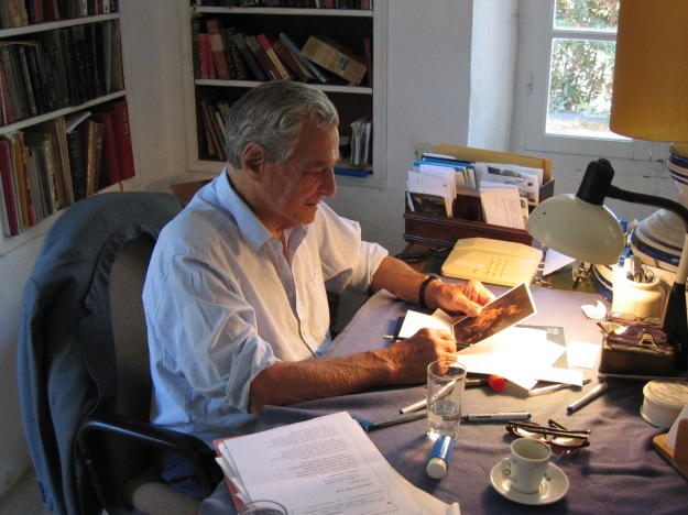 Patrick Leigh Fermor working at his home studio on 3 October 2004, then aged 89. Kardamyli. by Sean Deany Copyright 2012
