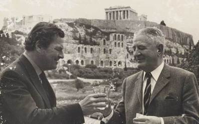 Patrick Leigh Fermor, left, met Heinrich Kreipe, his former captive, at a reunion in Greece in 1972 which included the famous Greek TV show