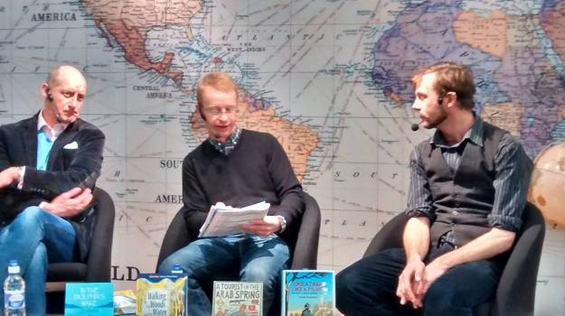 Harry Bucknall, Tom Cheshyre, and and Nick Hunt at the Stanford's Travel Writing Festival