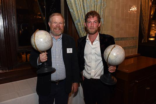 Winners Bill Bryson and Horatio Clare at the Edward Stanford Travel Writing Awards