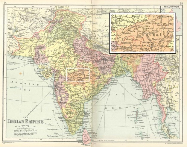Map showing the area of India in which Fermor travelled during his first two field work seasons. [George Philip FRGS (ed.), Philips' Record Atlas, London: The London Geographical Institute, 1934.]