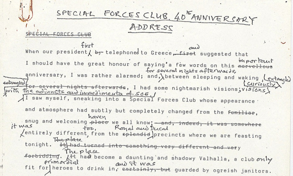 Opening paragraph Special Forces Club 40th anniversary dinner