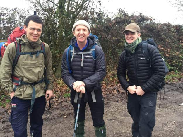 Teddy, Tom, and Patrick on the South Downs Way fundraising in December 2016