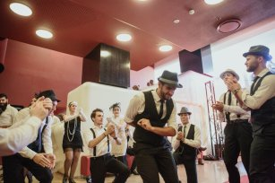 Rebetiko Dancers: A local Greek dance group performed 1920's style rebetiko dance in the venue foyer.