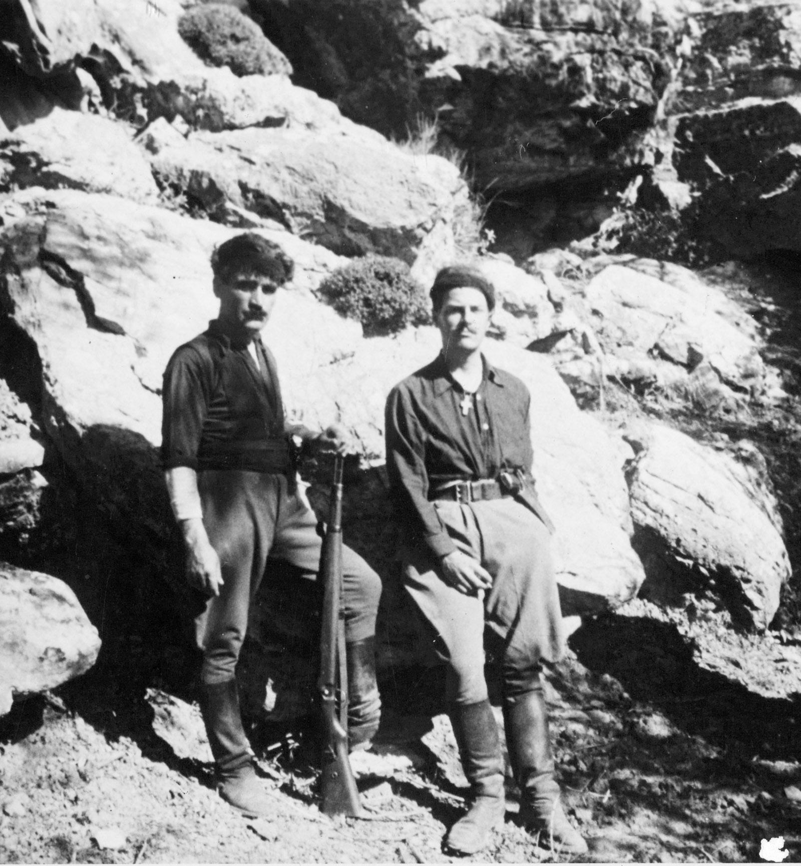 Patrick Leigh Fermor (right) and Yanni Tsangarakis, Hordaki, Crete, May 1943. Sir Patrick Leigh Fermor Archive/National Library of Scotland